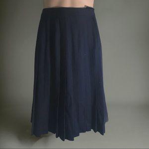 Vintage Accordion Pleat Navy Wool Skirt